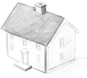 how to draw a realistic 3d house