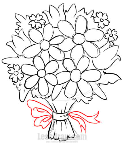 How To Draw A Bouquet Of Flowers Lessdraw